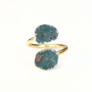 Genuine druzy gold-plated wrap ring